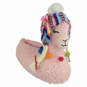 X2R105 SPOT ON GIRLS SLIP ON PINK LLAMA WARM COSY INDOOR HOUSE NOVELTY SLIPPERS