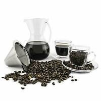 PouPour Over Coffee Dripper and Maker Carafe with Coffee Cup and Sauce Set Glass