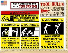 Funny Warning Stickers - Complete set of 6 Decals -  MADE USA - Man cave Toolbox