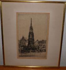 "PAUL GEISSLER 1921 ORIGINAL PENCIL signed TWICE  ENGRAVING Nuremburg 14x16"" Aprx"