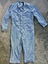 Vtg Lee Union-Alls Blue Denim Herringbone Stripe Coveralls - Mens XL Gas Station