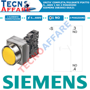 Pulsante piatto Giallo Con Supporto Rosso 1NO 5...400V 2 Posizioni Siemens