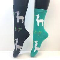 Alpaca llama Wool Cute Zoo Animal Peru Pet 2 Pairs Foozys Women's Socks