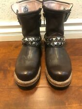 520$ Walk By Faith Vintage Leather Brown With Metal Studs Exene Biker Boots 10us