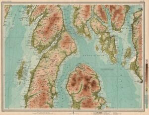 NORTH KINTYRE & ARRAN Bute Rothesay Firth of Clyde Dunoon Kirn Knapdale 1912 map