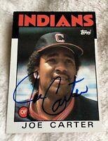 Joe Carter autographed baseball card Cleveland Indians 1986 Topps #377 😎