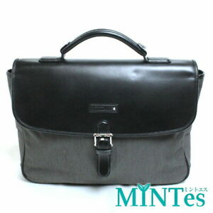 Auth Montblanc Business Bag Briefcase Gray Black Canvas [Used]