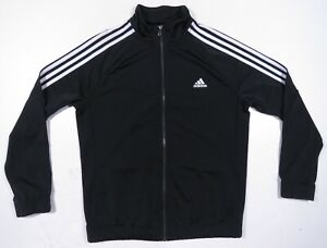 Adidas 3 Stripes Spell Out Black White Full Zip Womens Athletic Track Jacket XL