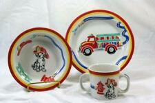 Tiffany Fire Station Red Childs 3 Piece Dinner Set RARE COLOR