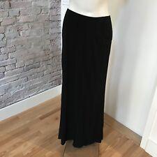 Alberta Ferretti Women's Black Skirt Long Flat Front Pleat Detail Back Vents 42