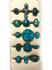 Sterling Silver Turquoise Mixed Zuni Navajo 15 MIXED LOT Rings