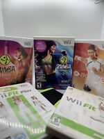 Nintendo Wii Video Game Bundle Lot 5 Wii Fit Plus Zumba Fitness Dance Work Out