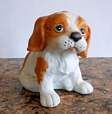 Homco Porcelain Tan & White Cocker Spaniel Puppy Figurine # 1407