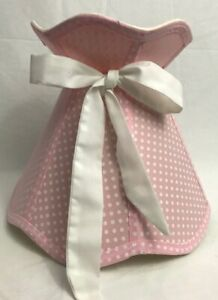 Beautiful Pink Polka Dot Scalloped Bell Shaped Fabric Lamp Shade Slip Uno Fitter