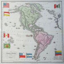 "CARTE DE L'AMERIQUE - CASTELLINI, 1842 ""Il nuovo mondo..."" Carte gravée AMERICA"