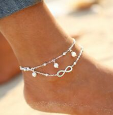 Long Chain necklace Foot Jewellery Anc04 Anklet Infinity 2 Layer Silver Anklet