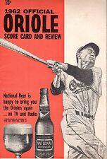 1962 MLB Baseball program, Boston Red Sox @ Baltimore Orioles ~ unscored