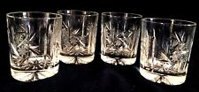 """Set of 4, Mouth Blown, Hand Cut Crystal  Old Fashion Glass Tumbler.  3 3/4"""" Tall"""
