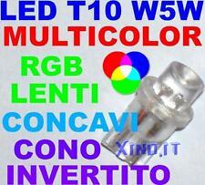 5 Lampade Luci LED RGB MULTICOLOR T10 W5W LENTI SLOW CONO INVERTITO CONCAVI 12V