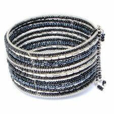 Bracelet Wide Cuff Black Glass Seed Beads Memory Wire Adjustable Fit