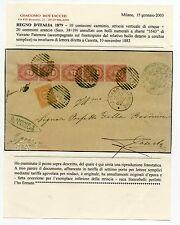 1879 REGNO 10+20 CENTESIMI STRISCIA 5 VALORI 3543 NUMERALE DI VAIRANO D/1389