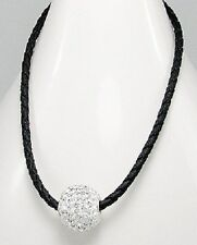 Braided Leather Weave Sterling Silver European Crystal Disco Ball Bead Necklace