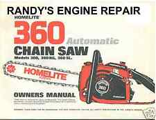 OWNERS OPERATORS MANUAL HOMELITE 360 CHAINSAW