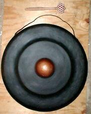 "Gong Boss Nipple Java Bali Metal 16"" d w/ Teak Mallet link to listen Gamelan"