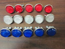 15pc RED WHITE & BLUE ROUND LICENSE PLATE BOLT REFLECTOR BIKE FASTENERS ~ NEW ~