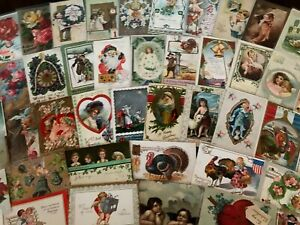 Lot of 100+ Antique 1900's Holidays & Greetings Postcards-Santa~ In Sleeves-h845