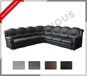 EXTRA EXTRA LARGE TEXAS Corner Sofa Faux Leather 7 Seater Black Grey Brown