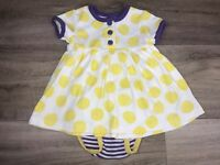 Hanna Andersson Girls dress size 60 3/6 months Polka dot Stripe bottoms Play Day