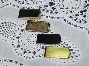 Lot of Four (4) Money Clips, All NEW! Brass w/ Inlay, Bronze, Brass & Stainless