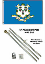 3x5 State of Connecticut Flag Aluminum Pole Kit Gold Ball Top 3'x5'