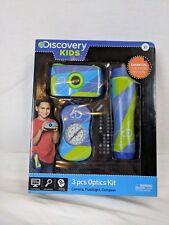 New! Discovery Kids 3 piece optics kit- camera, compass, flashlight- Great gift!