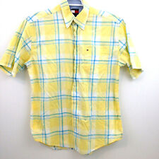 Tommy Hilfiger Button Down Shirt Mens Medium Yellow Blue White Check Plaid S/S