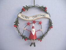 "GISELA GRAHAM CHRISTMAS WIRE SANTA IN HOLLY ""MERRY CHRISTMAS"" WREATH DECORATION"