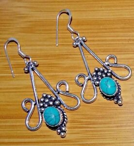 """Turquoise 925 Sterling Silver Overlay Women,s Earrings Jewelry 2.75 """"Inch AUG7"""