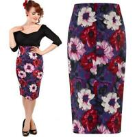 COLLECTIF FIONA WINTER FLORAL WIGGLE PENCIL SKIRT VINTAGE  ALTERNATIVE SIZE 16