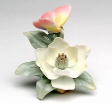 New FINE PORCELAIN Figurine PINK BUTTERFLY MAGNOLIA Statue Figure WHITE FLOWER