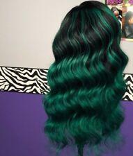 Cheap Green Womens 20 Inch Peruvian Virgin Human Hair Wig Weave With Closure