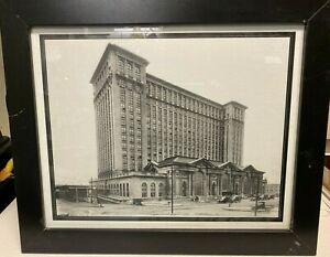 DETROIT MICHIGAN CENTRAL DEPOT 1913 FRAMED