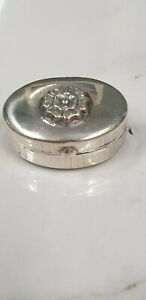 antique starling silver small oval rose decorated pill box