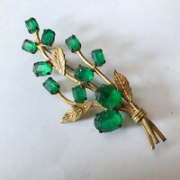 Vintage Gold Gilt Metal Pin Brooch Flower with Faux Emerald Green Paste Stones