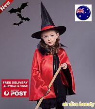 Kid Girl Children Witches Hat Vampire Cape Cloak Party Fancy Halloween Costume