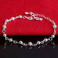 Fashion Women Silver Plated Crystal Chain Beads Bangle Charm Bracelet Jewelry