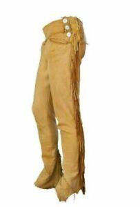 "36"" Mens Native American Gold Bucksin leather Cowboy pants fringes Western Hunt"