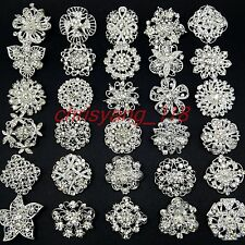 Lot 30 Wholesale Mixed Alloy Silver Rhinestone Crystal Brooches Pin DIY Bouquet