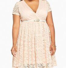 Torrid Lace Surplice Belted Skater Dress Blush Pink 3 3X 22 24 #4449