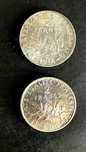 2 FRANCS FRANCE EN ARGENT 1914 C  lot de 2